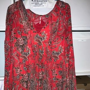 Free People Red Lace Up Tunic